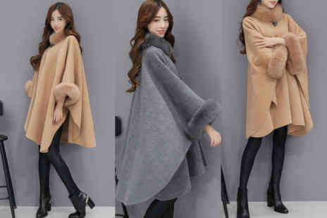 Blu Fish - Faux fur cape coat choose from two colours - Save 71%