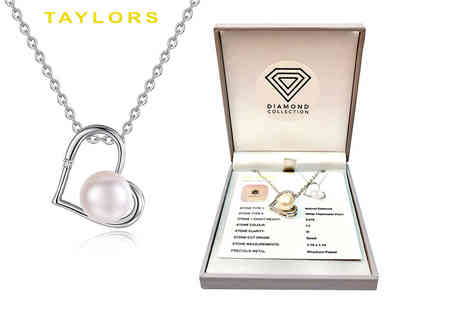 Taylors - Natural diamond and pearl pendant - Save 90%