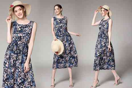 Trifolium Lingerie - Sleeveless floral over the knee beach dress - Save 78%