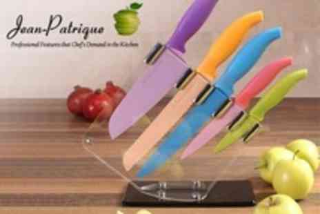 Jean Patrique - Set of Five Coloured Chefs Knives With Knife Block - Save 0%