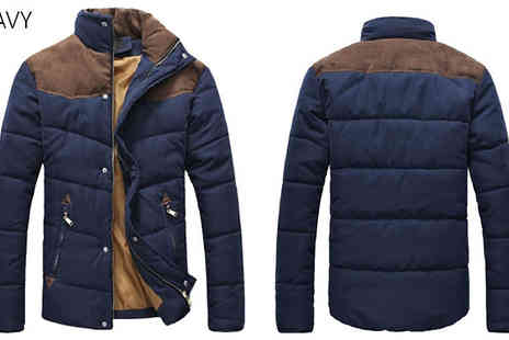 Blu Apparel - Mens Contrast Shoulder Padded Jacket Available in 3 Colours - Save 50%