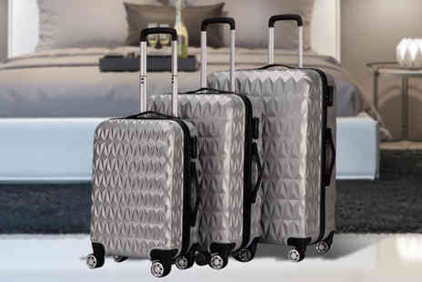 MC California - Three piece monochrome hard shell luggage set choose from two colours - Save 84%