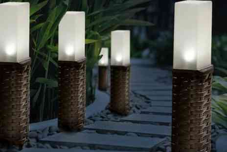 Groupon Goods Global GmbH - Two, Four or Eight Brown Woven Rattan Effect Post Solar Lights - Save 40%