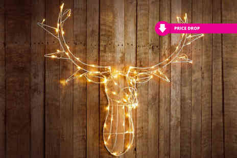 Zoozio - Large 80 LED stag head choose from two colours - Save 71%