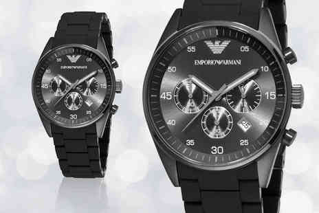 Hip Watches - Emporio Armani black mens sports watch - Save 71%