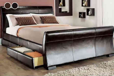 Giomani Designs - Venetian storage sleigh bed with optional memory foam or spring mattress - Save 79%