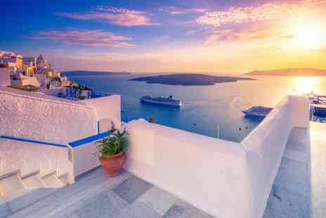 Super Escapes Travel - Three or five night luxury Santorini escape with breakfast and return flights - Save 34%