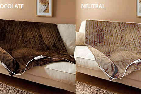 Groundlevel - 5 Setting Electric Heated Throw Choose 3 Colours - Save 61%