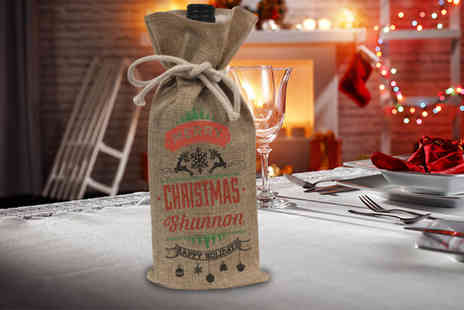 Deco Matters - A personalised hessian wine bag choose from five designs - Save 67%