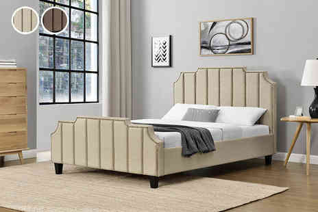 UK Furniture Zone - Double linen sleigh bed or - Save 74%