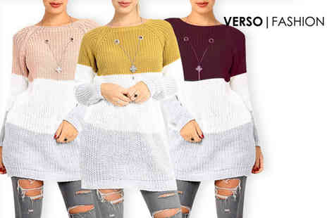 Verso Fashion - Multi coloured striped jumper with necklace choose from three colours - Save 52%