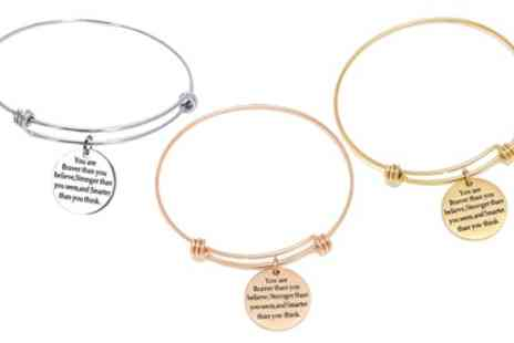Groupon Goods Global GmbH - Inspirational Quoted Bangle Bracelets - Save 68%