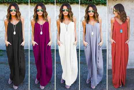 Verso Fashion - Floaty strappy maxi dress choose from five colours - Save 60%