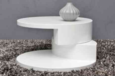 Groupon Shop - High Gloss Contemporary White Swivel Coffee Table - Save 41%