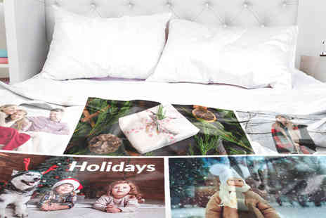 Photo Gifts - 100cm x 70cm personalised photo blanket or 150cm x 100cm photo blanket - Save 80%