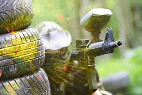 Paintball Park - Paintball for 10 People with 100 Paintballs Each, Smoke Granade and Hot Drink - Save 93%