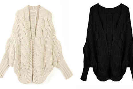 Marcus Emporium - Chunky Batwing Cable Knit Cardigan Available in Seven Colours - Save 82%