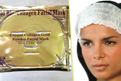 Forever Cosmetics - 10 x Gold Collagen Face Masks plus Free Headband - Save 88%