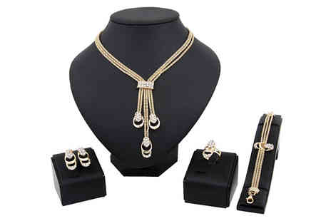Marcus Emporium - 4 Piece Crystal Droplet Jewellery Set in 2 Colours - Save 82%