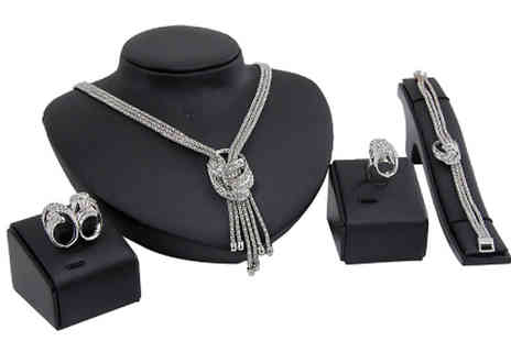 Marcus Emporium - 4 Piece Crystal Knot Jewelllery Set Choose from 2 Colours - Save 82%
