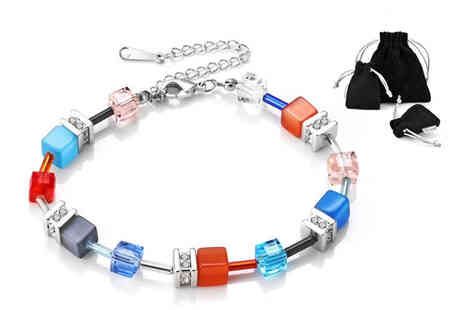 Philip Jones - Cubic bracelet made with crystals from Swarovski - Save 85%