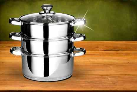 Direct 2 public - Three piece stainless steel steamer set - Save 72%