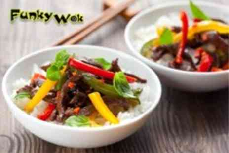 Funky Wok - Chinese takeaway meal for 2 inc. starters, mains & rice - Save 51%