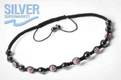 Silver Supermarket - Shamballa Style Crystal and Hematite Necklaces for two - Save 62%