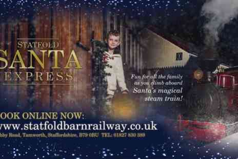 Statfold Barn Railway - One adult and one child Santa steam train ticket with entry to Santas grotto on 24 November To 16 December - Save 31%