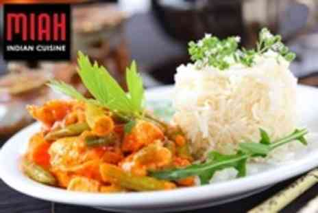 Miah Indian Cuisine - Two Course Indian Meal With Rice and Naan For Two - Save 63%