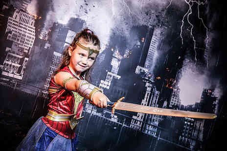Xposure Studios - Capow Superhero photoshoot, 10x8 inch airbrushed print and £50 off any wall hanging print or album - Save 83%