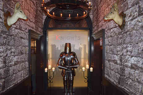 Knights Table - Two course dining, two sides to share and a glass of wine each - Save 62%