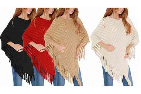 Boni Caro - Cable knitted poncho choose from four colours - Save 82%