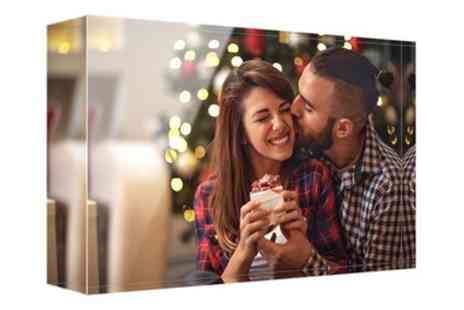Photo Gifts - Personalised Acrylic Photo Block in Choice of Size - Save 83%