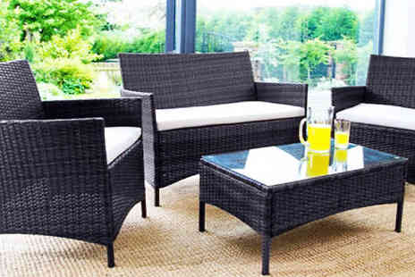 Dining Tables - 4 Piece Black Rattan Garden Furniture Set Choose 2 Colours - Save 84%