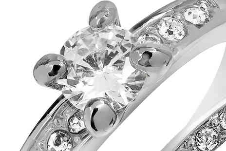 Gem Nation - Created Sapphire 18K White Gold Plated Duo Ring - Save 92%
