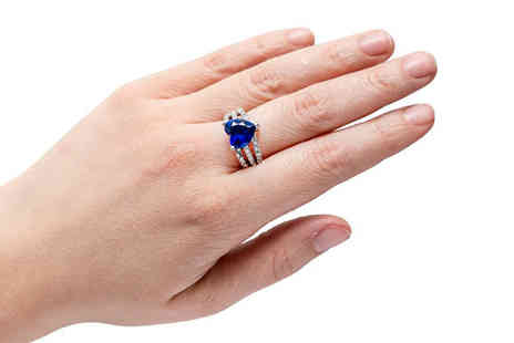 Gem Nation - 2.5ct Brilliant Cut Simulated Sapphire Ring in 4 Sizes, Free Delivery - Save 90%