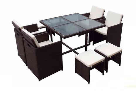 EVRE - 9, 11 or 13 Piece Cubed Rattan Dining Set Available in 2 Colours - Save 70%