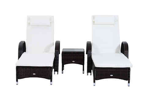 Mhstar - 3 Piece Waterproof Rattan Reclining Sun Lounger And Table Set Available in 2 Colours - Save 56%