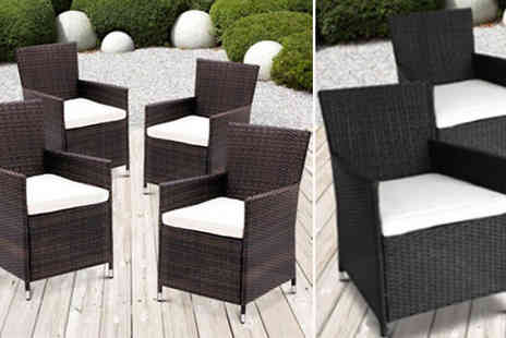 Dining Tables - Rattan Garden Chairs in 2 Colours - Save 53%