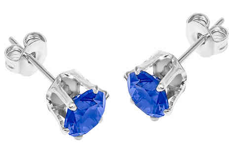 Gem Nation - 18K Gold Plated Brilliant-Cut Blue Simulated Sapphire Stud Earrings plus Free Delivery - Save 94%