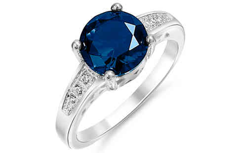 Gem Nation - 18K Gold Plated 2.33ct. Simulated Sapphire Ring Choose 4 Sizes - Save 94%