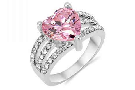 Gem Nation - 2.5ct Brilliant Cut Pink Simulated Sapphire Ring plus Free Delivery - Save 89%
