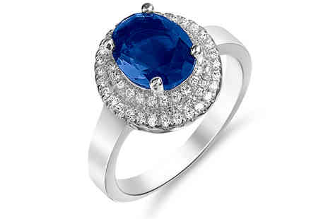Gem Nation - 2ct Simulated Sapphire Ring With 18K White Gold Plating Choose 4 Sizes - Save 91%