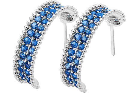 Gem Nation - Silver Plated Blue Simulated Sapphire Earrings plus Free Delivery - Save 93%