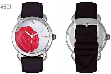 Ideal Deal - Bertha Daphne Mother of Pearl Leather Band Watch in 7 Designs - Save 93%
