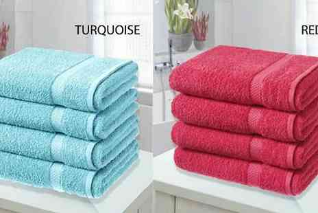 Groundlevel - 4 x Egyptian Cotton Bath Sheets Choose 10 Colours - Save 81%