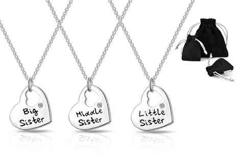 Philip Jones - Sister heart necklace made with crystals from Swarovski choose between three designs - Save 80%