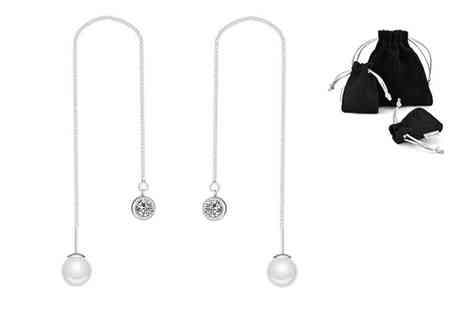 Philip Jones - Pair of pearl threading earrings made with crystals from Swarovski choose between three colours - Save 77%