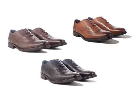 Redfoot - Pair of smart mens leather brogue shoes choose from three designs - Save 79%